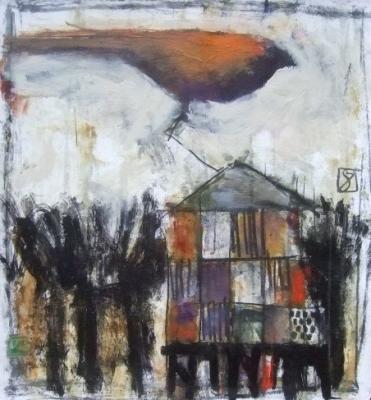 """Bird House 8"", 2016, acrylic on paper, 22 x 20"""