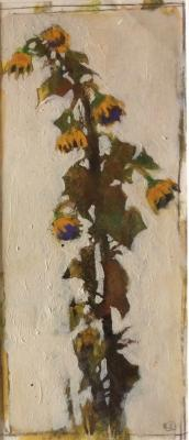 """Sunflowers after Schiele"", 2017, acrylic on paper, 13 x 5.5"""