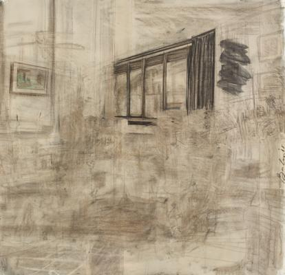 "David Bailin, ""Panes"", 2010, Charcoal, colored-pencil, pastel and coffee on prepared paper, 52"" x 54.5"""