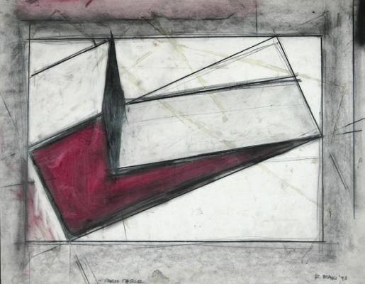 """Robert Maki, """"Paris Table"""", 1993, graphite & pigment on vellum, 19 x 24"""" im."""