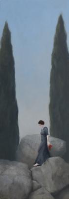 """Judy Nimtz, """"Passage"""", 2017, oil on panel, 33.5"""" x 12"""""""