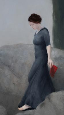 "Judy Nimtz, ""Passage"" (detail), 2017, oil on panel, 33.5"" x 12"""