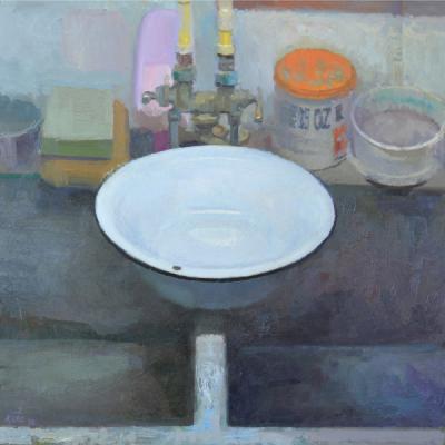 "Matt Klos, ""Perched (white vessel 1)"", 2015, oil on panel, 13.5 x 13.5"""