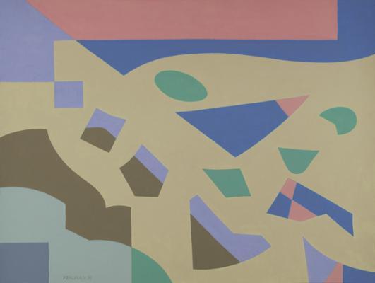 "Robert Perlman, ""Number 9"", 2014, acrylic on paper, 12 x 16"""