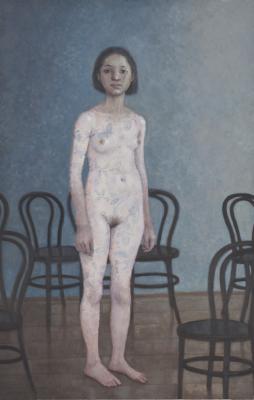 "Peter Zokosky, ""Emma, 2015, oil on fabric on panel, 24 x 14.5"""