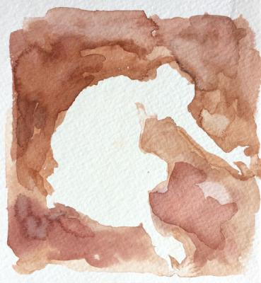 "Anne Petty, ""Finding Ground"", 2012, Watercolor on Paper"", 5"" x 4.5"""