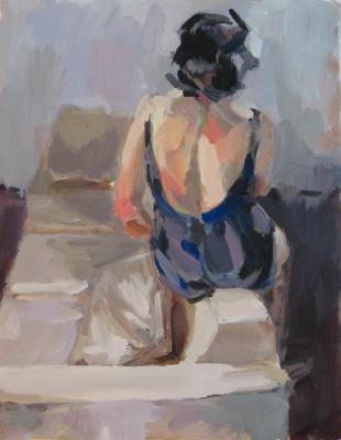 "Anne Petty, ""Sit"", 2010, oil on paper, 11x8.75"""