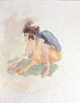 "Anne Petty, ""Squat"", 2009, Watercolor on Paper, 6.5"" x 5.25"""