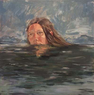 "Anne Petty, ""Water"", 2017, oil on canvas, 30"" x 30"""