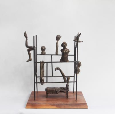 """3 AM"" view 1, 2015, bronze, 13"" x 14"" x 14"""