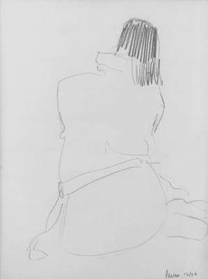 """Figure with Robe"", No date, Graphite on paper, 10"" x 8"" unframed"