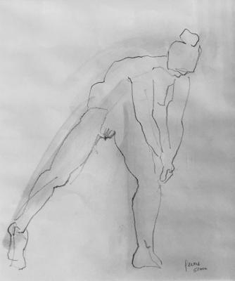 """Leaner"", 2013, Graphite & wash on paper, 10"" x 8"" framed"