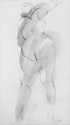 "Untitled (Back View)"", No date, Graphite & wash on paper, x 14"" x 8"" unframed"