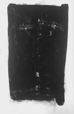 "Michael Howard, Crucifixion 2 (after R.V.R.), 2016, water, gouache on paper, 18"" x 12"""