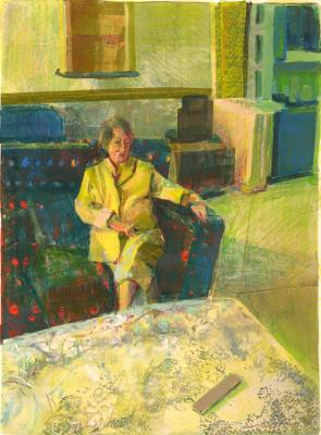 """Hallway Blue"", 2016, oil on canvas, 27 x 20"""