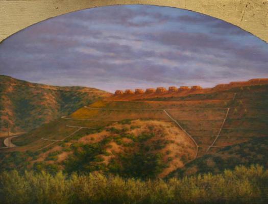 "Darlene Campbell, ""Portrait of Spring"", 2007, oil and gold leaf on panel, 6"" x 12"""