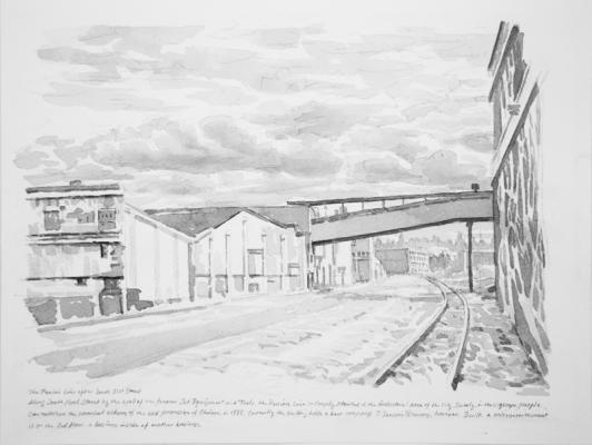 """The Prairie Line After South 25th Street"", 2017, Chinese ink on paper, 9"" x 12"""