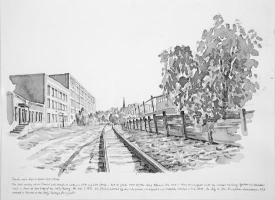 """The Prairie Line Beyond South 25th Street"", 2017, Chinese ink on paper, 9"" x 12"""