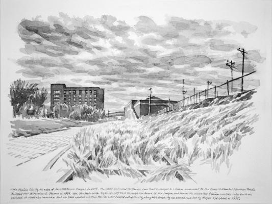 """The Prairie Line by the Edge of UWT"", 2017, Chinese ink on paper, 9"" x 12"""