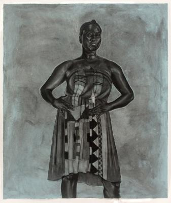 "Robert Pruitt, ""Blue Black Afro Majestic"", 2012, conte and charcoal on hand dyed paper, 60""x 70"" unframed, 64.5"" x 76"" framed"