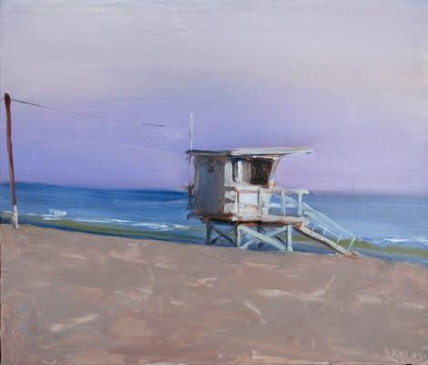 "Kenny Harris, ""Purple Sunset, Venice"", 2009, oil on panel, 9.75 x 11"""