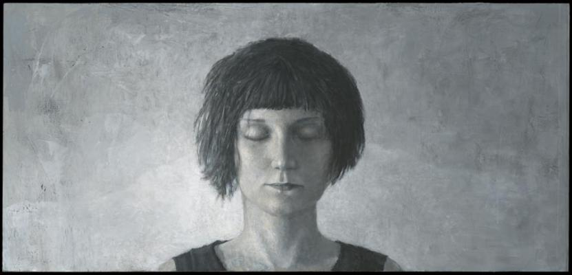 "Tim Lowley, ""Rachael McHan"", 2010, acrylic on panel, 21"" x 44"""