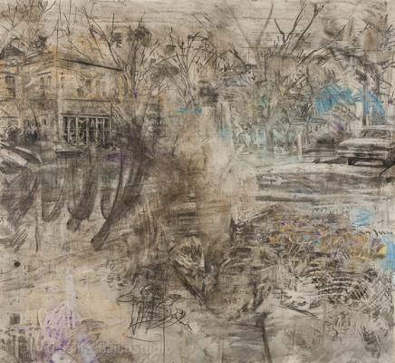 "David Bailin, ""Raking Leaves"", 2016, charcoal, pastel and coffee on prepared paper, 72 x 79"""