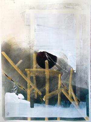 """Fred Birchman, """"Re-Claim #1"""", 2014, mixed media on paper, 22.5 x 30"""""""