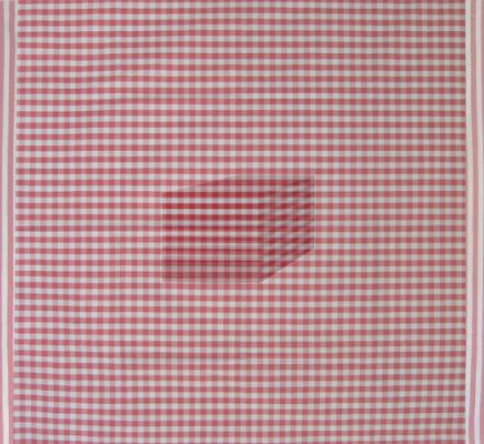 """David Brody, """"Checkered Fabric, Red, Number 1"""""""