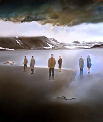 "Len Paschoal, ""Red Desert Ghosts Under Icelandic Light, A  Study (An Homage to Antonioni)"", 2016, oil on linen, 27.5"" x 25.5"""