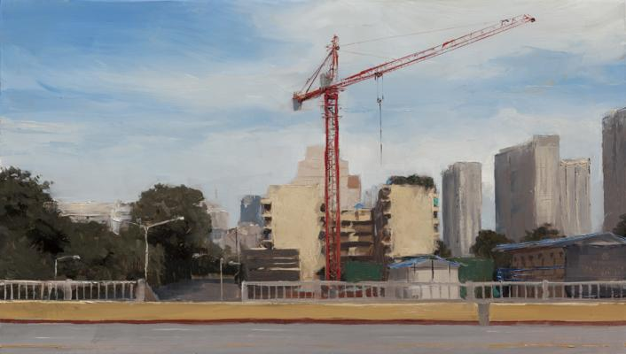 """Kenny Harris, """"China series:Red Crane"""",2011,oil on panel, 8 x 12"""""""