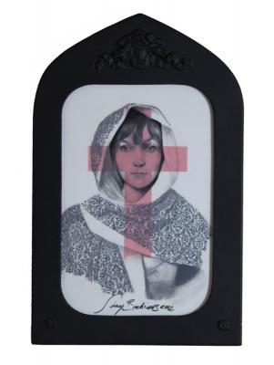 "Shay Bredimus, ""Red Cross"", 2012, tattoo ink on drafting film, 11.5"" x 7.5"" framed"