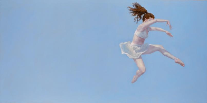 "Judy Nimtz, ""Released"", 2015, oil on panel, 24"" x 48"""
