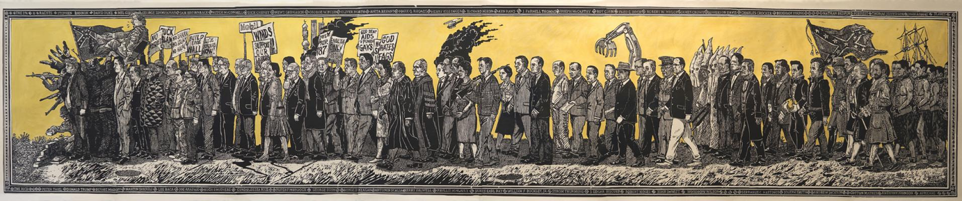 """American Procession (Conservatives)"" right panel, Sandow Birk and Elyse Pignolet, 2017, woodblock print on mulberry paper, 36"" x 17' 0"", Printed and Published by Mullowney Printing, San Francisco"