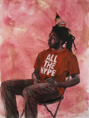 """All the Hype, 2016, conté, pastel, colored pencil and charcoal, tea dyed paper 72"""" x 50"""""""