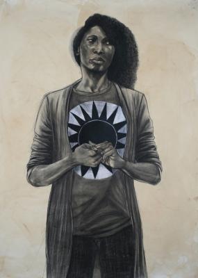"""Phantom Lady"", 2016, conte, charcoal & coffee on paper, 84"" x 60"""