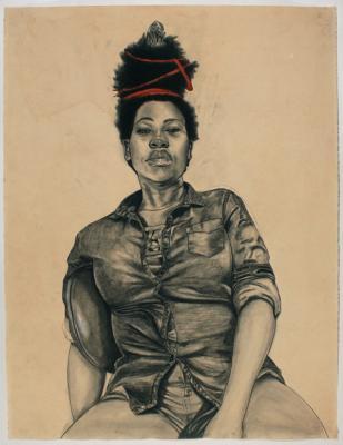 """Untitled (Red Ribbon Hair), 2016, conté, pastel, colored pencil and charcoal, tea dyed paper, 50"""" x 38"""" unframed"""
