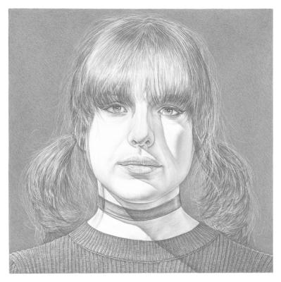"Robert Schultz, ""Artist's Daughter"", 2018, silverpoint on gessoed panel, 7"" x 7"""
