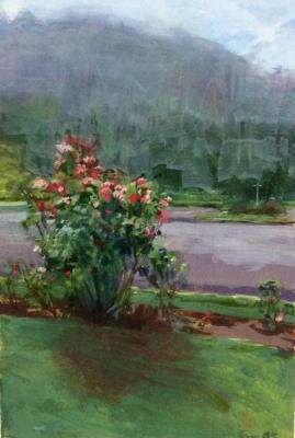 """Roses By The Fish Hatchery"", 2016, oil on paper, 7"" x 5"""