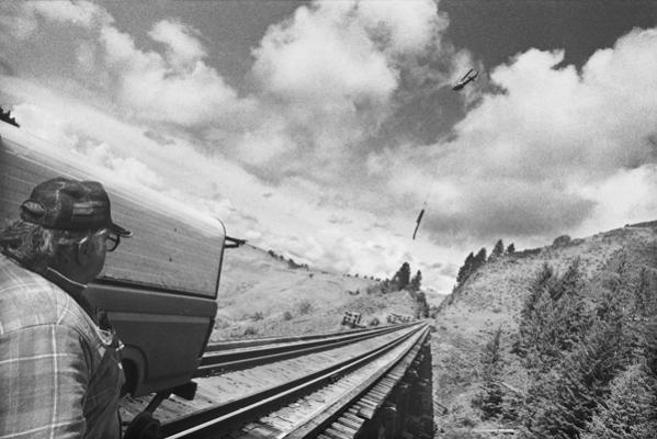 """Glenn Rudolph, Helicopter Logging Camus Prairie RR, 1992, archival inkjet print,  24 x 37"""""""