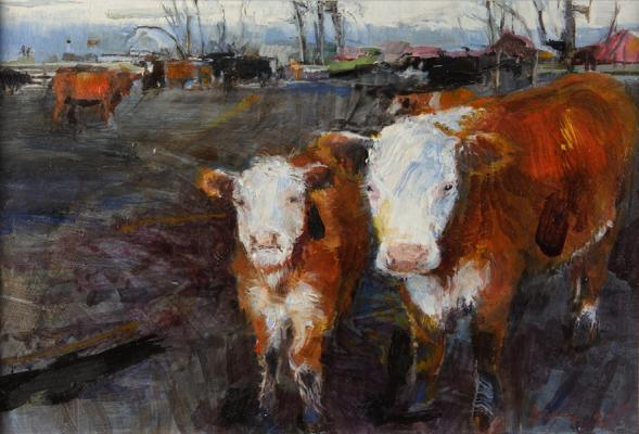 """Two Cows Up the Way"", 2010, oil on paper, 3.25 x 4 5/8"""