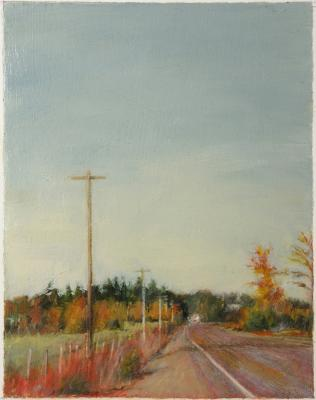 """Washington County Curve"", 2012, oil on paper, 3.25 x 2.5"""