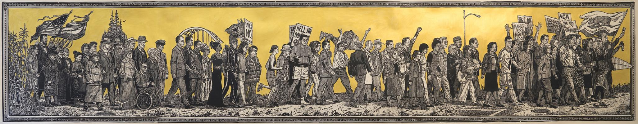 """American Procession (Progressives)"", left panel, Sandow Birk and Elyse Pignolet, 2017, woodblock print on mulberry paper, 36"" x 170"", Printed and Published by Mullowney Printing, San Francisco"