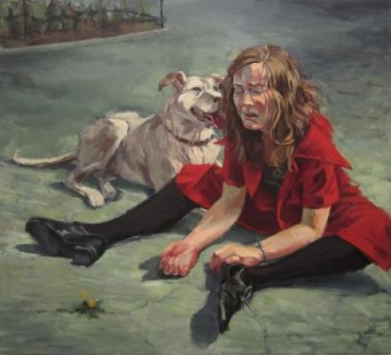 "Anne Petty, ""Sara and Her Dog"", 2013, oil on canvas, 36"" x 40"""