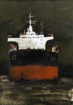 "Robert Schlegel, ""Freighter #4"", 2013, acrylic on paper, 28 x 21"" image"