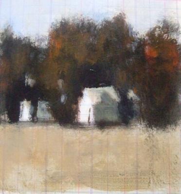 """Outbuildings"", 2011, acrylic on ledger paper, 5 x 5"""