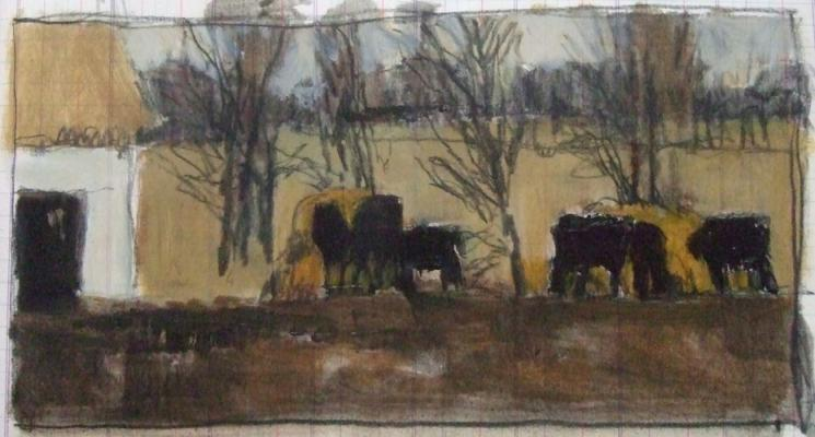 """Winter Pasture"", 2011, mixed media on paper, 5 x 9"""