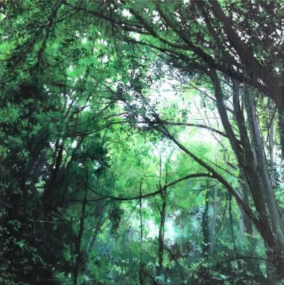 """Schmitz Park Reserve"", ""Spring Morning Ride"", 2019, Oil on panel, 4.25"" x 4.25"""