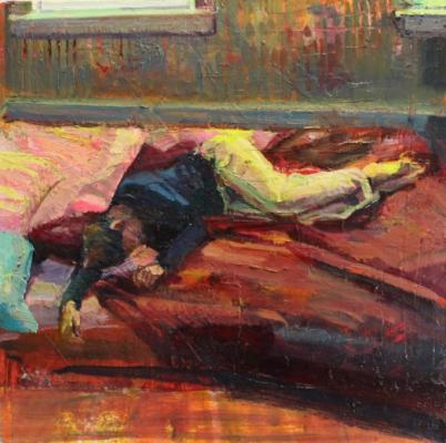 """Recline"", 2015, oil on canvas, 25 x 25"""