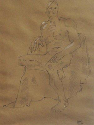 "Phillip Levine, ""Seated Pose"", 2011, charcoal on paper, 16 x 12"" image"